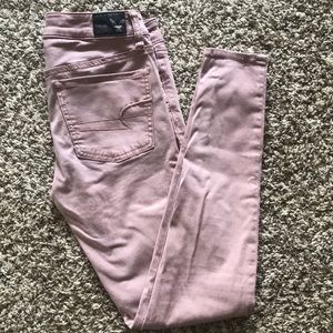 Blush colored jean jeggings